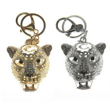 New Cute Ladies Girls Leopard DIAMANTE Keyring Bag Charm Key Chain Gift Animal