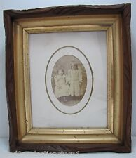 Old Deep Thick Detailed Wood Carved Frame w young children picture Art Picture