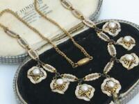 Beautiful VINTAGE ART DECO QUALITY faux PEARL TOLEDO DAMASCENE dropper necklace
