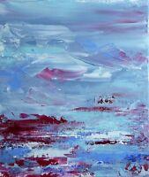 """Peinture sur toile Paysage Tableau abstrait original signé HZEN """"PATIENCE"""" 26x30"""