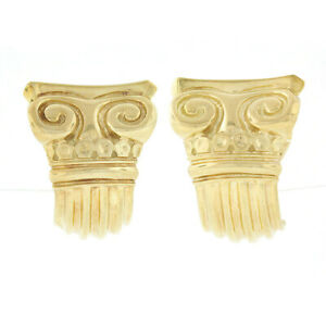 Vasari 18k Gold Greek Column Carved Grooved Polished Wide Cuff Earrings w/ Pouch
