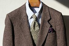 Daniel Hechter 38S Brown Herringbone Tweed 2-Vent Sport Coat - Patch Pockets