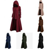Womens Hooded Punk Gothic Long Dress Autumn Winter Long Sleeve Casual Loose Coat