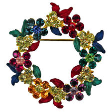 RUCINNI Wreath Brooch, 20K Gold plated and Swarovski Crystals