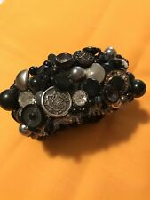 Handmade Black And Silver Button And Bead Bracelet