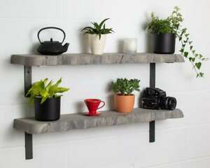 Grey Round Corners Live Edge-Thick- Non Lipped-Wax Finish-Rustic Shelves