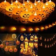 DE Halloween Kürbis LED Lichterkette Horror Party Lichter Außen Beleuchtung Deko
