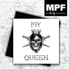 'My Queen' hand made tattoo skull style birthday/anniversary card -gem stone eye
