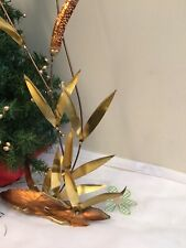 """Brass Cat Tails & Lily Pads 29.5"""" Tall Home Interiors Wall - Home Decor"""