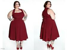 QUEEN PLUS SZ 2X 20 RETRO COUTURE CHERRY RED PINUP ROCKABILLY HALTER SWING DRESS