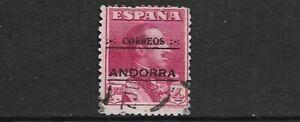 ANDORRA (SPANISH) - 1928 - 4p LAKE OPTD - SG 12B USED  CAT £500 (THIN & CREASE)