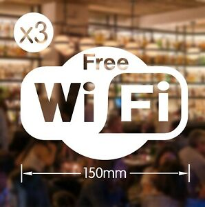 Free Wifi Wi Fi stickers x3 cafes pubs hotels bars salons for windows or walls