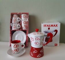 Espresso cups and saucers & Stove Coffee Maker 3 Cups Heart Desing GIFT SET.