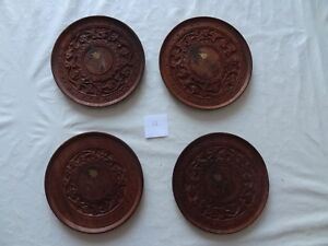 Vintage Wooden Hand Carved Decorative Wall Plate/hot plate set of 4