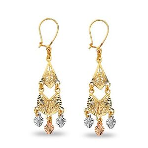Chandelier Dangle Earrings 14k Yellow White Rose Gold Hanging Hearts Two Tiers