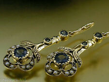 CE103 Genuine 9ct SOLID Yellow Gold NATURAL Sapphire & Pearl Drop Earrings