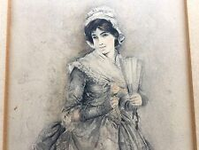 Dated 1898 Signed LEON MORAN Watercolor Painting Board Antique Beautiful Woman