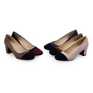 Ladies Square Toes Shoes Faux Suede Mix Color Med Block Heels Pumps AU Size s714