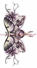 "US SELLER-butterfly flower animal skull 8.25"" temporary tattoo boho tattoo"
