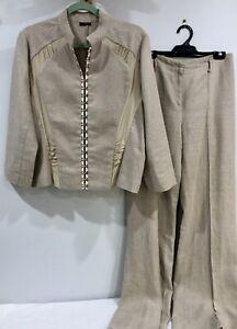 CARLA ZAMPATTI 2-PCE Linen Suit Pants 10/ Blazer 14 Silk Contrast MADE AUSTRALIA