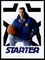 1992 Chris Mullin photo Starter Golden State Warriors jacket vintage print ad