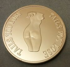 Heads I win Tails you lose Lady Woman Silver Coin Fun Girl Conversation Piece US