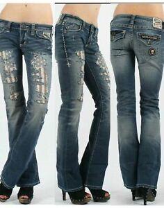 AFFLICTION Women's Denim Jeans JADE PATRIOT CROSSROAD Embroidered  Biker MMA