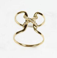"14k Yellow Gold "" X "" Diamond Ring ( Dia.  0.08cts)"