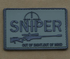 """PVC / Rubber Patch """"Sniper.....out of sight"""" with VELCRO® brand hook"""