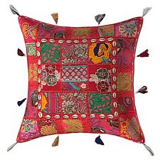Embroidered Patchwork Pillow Cover Bohemian Cowrie Shell 17x17 Decorative Cotton