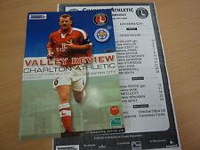 Charlton Athletic V Leicester City programe et teamsheet 29.9.01