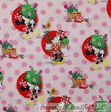 BonEful Fabric FQ Cotton Quilt White Red Pink Dot Disney Minnie Mouse Dress Bow