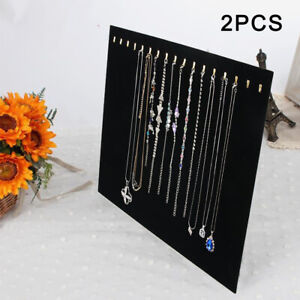 2x Black Velvet Necklace Chain Stand Jewellery Holder Shop Display Bust Set Tall