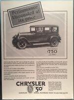 "1927 CHRYSLER ""50"" AUTOMOBILE  Original Vintage Full Page Print Ad  Advertisment"