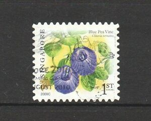 SINGAPORE 2009 FLOWER BLUE PEA VINE 1ST LOCAL 2ND REPRINT (2009C) 1 STAMP USED