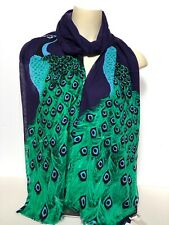 KATE SPADE New York Peacock Plume feathers Scarf 100% Viscose Cobalt Blue New