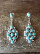 Zuni Indian Jewelry Sterling Silver Turquoise Post Earrings! Signed!