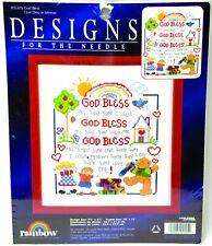 Leisure Arts Rainbow 305305 Counted Cross Stitch Kit God Bless NIP