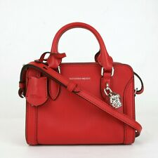 $1295 Alexander McQueen Red Leather Small Silver Skull Satchel Bag 419781 6226