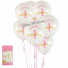FIRST 1ST BIRTHDAY GOLD PINK WHITE BALLOONS 6PK PARTY GIRL HELIUM QUALITY LATEX