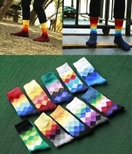 SALE 10Pack New Men Happy Socks Checked Multicolour British Style Gradient