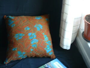 Large Cushion, Brown/Turquoise Retro Floral Poyester 20 x 20 inches (50 x 50cms)