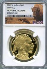 2018 Buffalo NGC PF 70 Ultra Cameo 1oz. .9999 Gold Buffalo Label