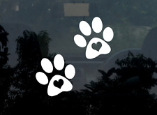 2x Paw Print Decal Stickers Heart Dog Cat Pet Puppy Vinyl Car Laptop Window Love