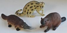 Plastic RARE ANIMAL Figure Lot Of 3: PLATYPUS, INDIAN CIVET, EURASIAN BEAVER