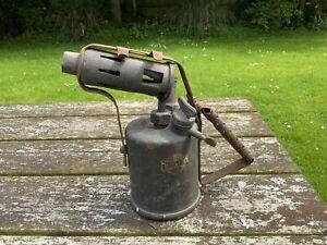 Vintage Original Brass 'Burmos' Blow Torch Lamp 1 Pint Paraffin Pattern A