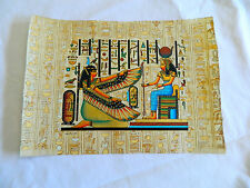 """Egyptian Papyrus Paper Painting Maat & Hathor Hieroglyphic Background 9""""X13"""""""