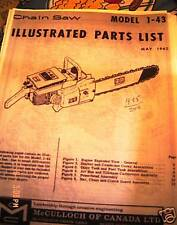 McCulloch model 1-43 illustrated  Parts list