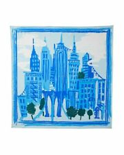 Kate Spade New York NYC Cityscape Print Square 100% Twill Silk Scarf Blue New
