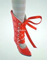 Shoes Boots for Tonner Tyler Doll Red Patent Embroidered tall Zipper Custom Made